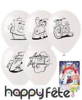 5 ballons à colorier sur le thème des jouets