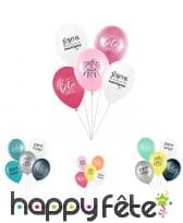 5 Ballons avec message d'anniversaire