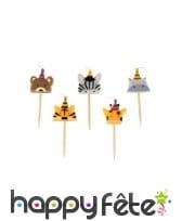 5 Bougies animaux de la jungle de 2,5 cm