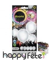 5 ballons blancs lumineux