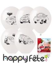 5 ballons Cars à colorier