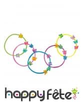 5 Bracelets décoré de papillons multicolores
