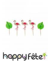 5 Bougies flamant rose et feuille tropicale, 3,5cm