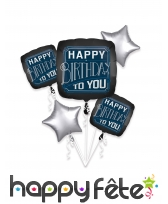 5 ballons Happy Birthday to you carré et étoile