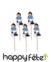5 Bougies joueurs de foot sur tige, 8cm, image 1