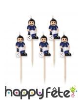 5 Bougies joueurs de foot sur tige, 8cm, image 2