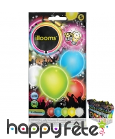 5 ballons lumineux multicolores