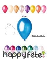 50 ballons nacrés de 30cm