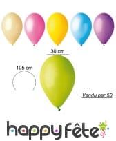 50 ballons pastel de 30 cm