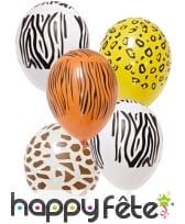 5 Ballons safari de 29cm