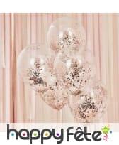 5 Ballons transparents avec confettis rose doré, image 1