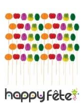 50 fruits alvéolés colorés sur pique en bois, 10cm, image 1