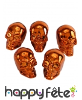 5 petites têtes de mort coloris cuivre métallique