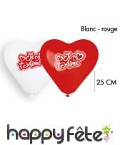 6 Ballons coeur je t'aime, 25cm