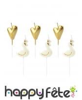 6 Bougies cygne royal blanc et coeur doré de 4 cm