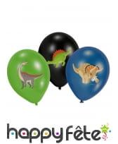 6 Ballons Dinosaures noir vert bleu de 27,5 cm