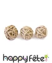 6 Boules de corde naturelle de 3cm