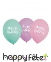 6 Ballons Happy Birthday colorés pastel de 23 cm