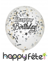 6 Ballons Happy Birthday confettis argent or