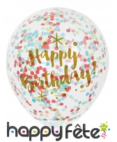6 Ballons Happy Birthday confettis colorées