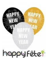 6 Ballons Happy New Year de 27,5cm