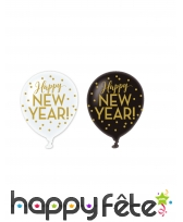 6 Ballons Happy New Year en latex noir et blanc