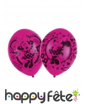 6 Ballons Minnie Mouse amoureuse fuchsia de 27,5cm