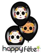 6 Ballons noirs Dia de los muertos de 28 cm