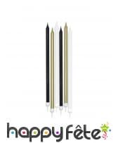 6 bougies noir blanc or de 15cm, mattes