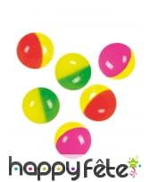 6 Balles rebondissantes bicolores de 3cm