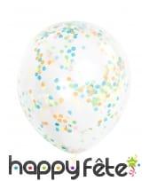 6 Ballons transparents avec confettis colorés