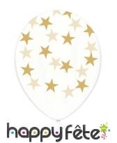 6 Ballons transparents en latex avec étoiles, image 1
