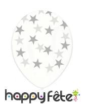 6 Ballons transparents en latex avec étoiles, image 2