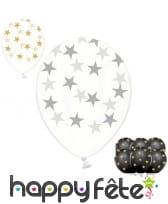 6 Ballons transparents en latex avec étoiles