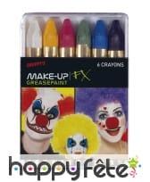 6 crayons de maquillage gras pour carnival
