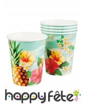 6 Gobelets Hawai en carton de 25cl