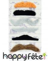 6 moustaches adhésives multi formes et couleurs, image 2