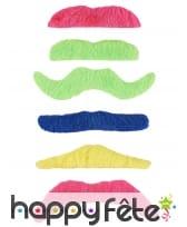 6 Moustaches fluos adhésives