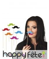 6 moustaches fluos sur pics, pour photo, image 2