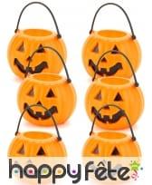 6 Mini sceaux citrouilles pour bonbons d'halloween