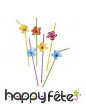 6 pailles avec fleur d'hibiscus