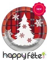 8 assiettes en carton écossais Chalet de Noël, image 1