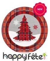 8 assiettes en carton écossais Chalet de Noël, image 2