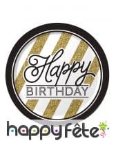8 Assiettes Happy Birthday Noir et doré