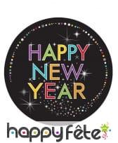 8 Assiettes noire imprimé Happy New Year coloré