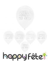 8 Ballons blancs d'anniversaire avec âge imprimé