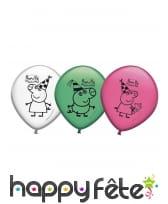 8 Ballons colorés imprimé Peppa Pig