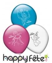 8 Ballons colorés imprimé Reine des neiges