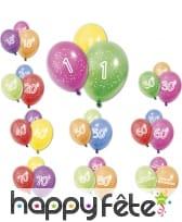 8 Ballons imprimé âge sur fond coloré