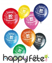 8 ballons joyeux anniversaire et âge imprimé, image 1